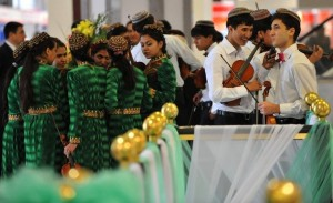 Turkmen musicians, wearing traditional embroidered caps, speak on November 17, 2010 during the opening of the annual oil and gas conference, bringing together Western energy executives and the Turkmen leadership, in the Turkmen capital Ashgabat. The Central Asian nation of Turkmenistan, which sits atop the world's fourth-biggest natural gas reserves, is looking to diversify energy supplies and is pushing to revive plans to build a pipeline to deliver gas from Turkmenistan through Afghanistan to Pakistan and India.