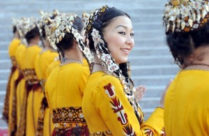 Turkmen dancers, wearing traditional costumes, perform to mark the opening of the annual oil and gas conference, bringing together Western energy executives and the Turkmen leadership, in the Turkmen capital Ashgabat on November 17, 2010. The Central Asian nation of Turkmenistan, which sits atop the world's fourth-biggest natural gas reserves, is looking to diversify energy supplies and is pushing to revive plans to build a pipeline to deliver gas from Turkmenistan through Afghanistan to Pakistan and India.